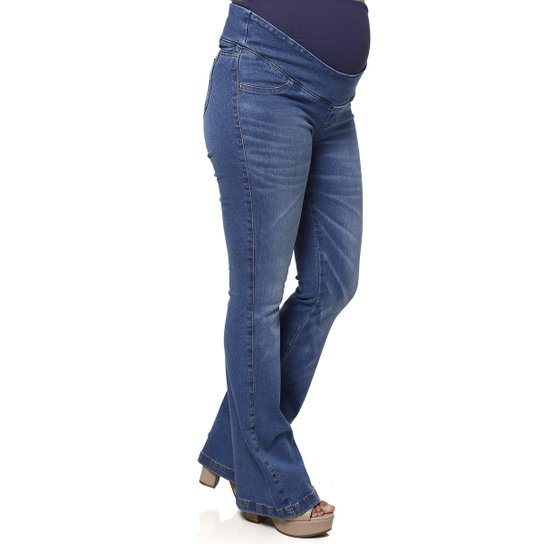 f279b217a55989 Calça Jeans Flare Gestante Feminina - Azul