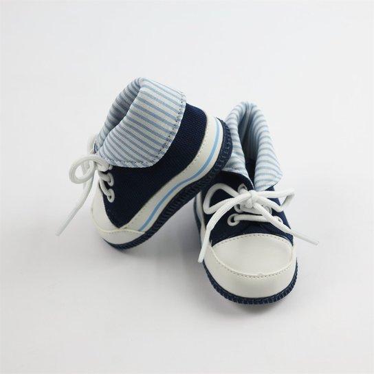 dced063be4 Tênis Bebê Masculino Cano Alto Cáqui Listrado-M - Azul