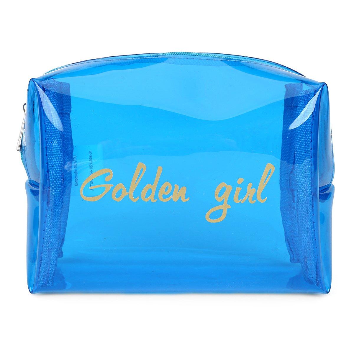 Necessaire Drezzup Golden Girl Transparente Feminina