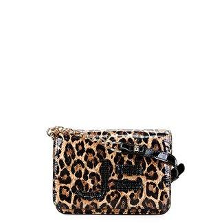 d5ddf989b Bolsa Couro Jorge Bischoff Mini Bag Animal Print Alça Corrente Feminina