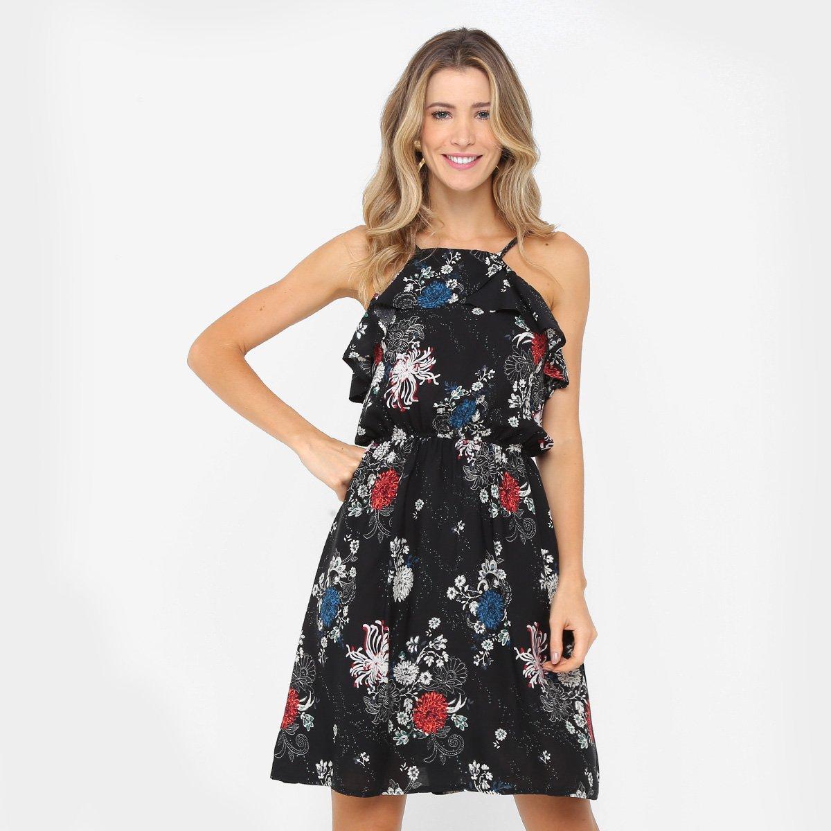fb820eb67a 66%OFF Vestido Lily Fashion Evasê Curto Estampado