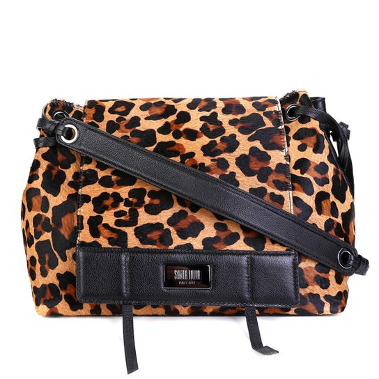 07705bf3a3 Bolsa Couro Santa Lolla Handbag Estampa Onça Alça Transversal Feminina -  Caramelo