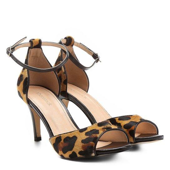 2f5282a9f0 Sandália Couro Shoestock Salto Fino Naked Tornozeleira Feminina - Onça