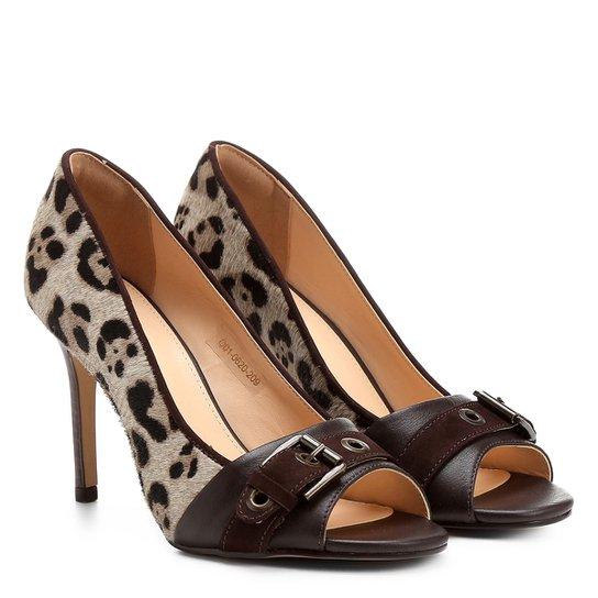 e31b2a8c07 Peep Toe Couro Shoestock Salto Fino Animal Print - Onça - Compre ...