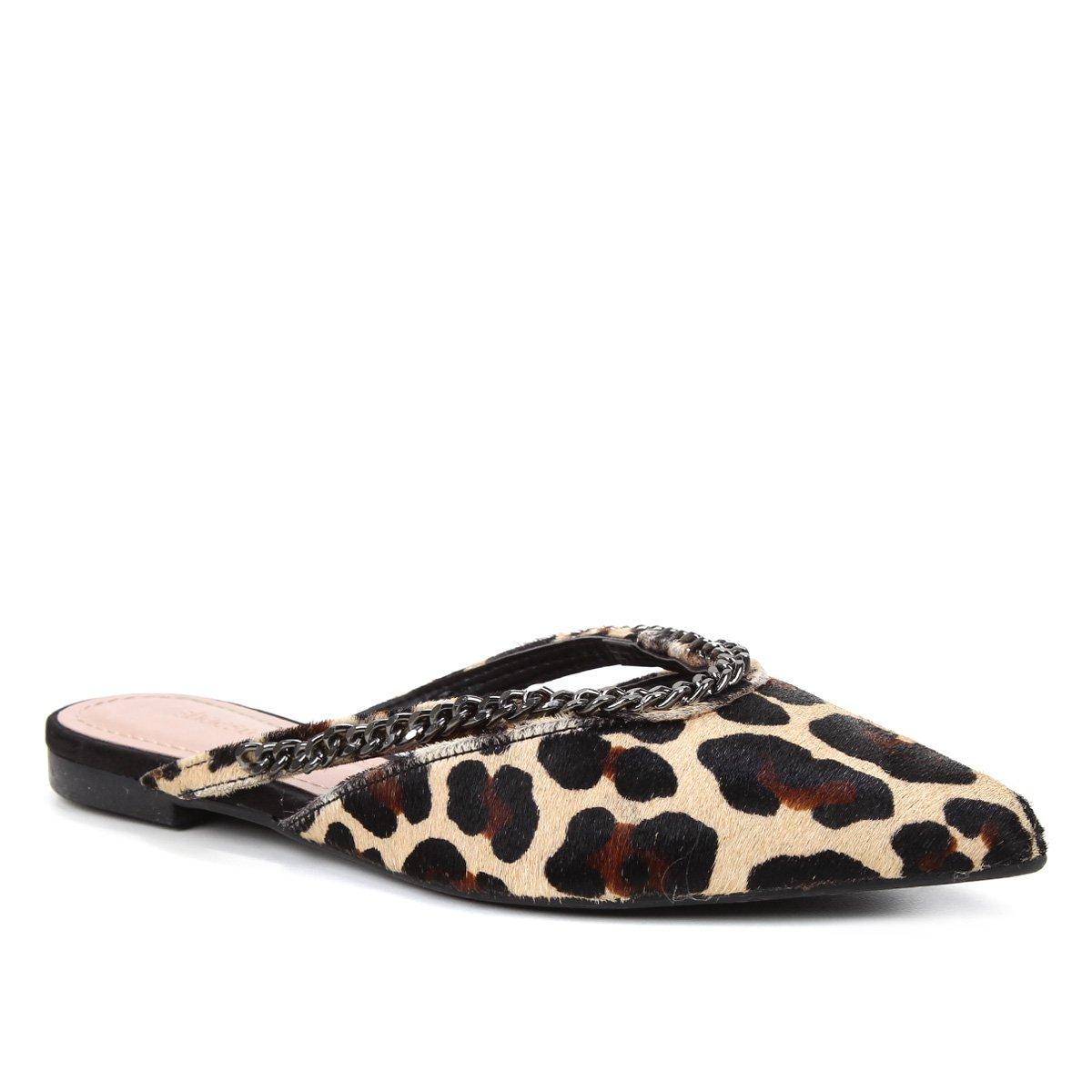 Mule Couro Shoestock Flat Vamp Corrente Onça