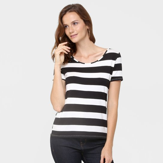 Camiseta Lunender Listrada - Preto+Off White 57ed1a3861755