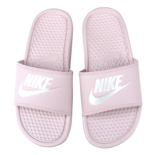 6bde4f9ef60 Chinelo Nike Benassi JDI Slide Feminina - Rosa e Cinza - Compre ...