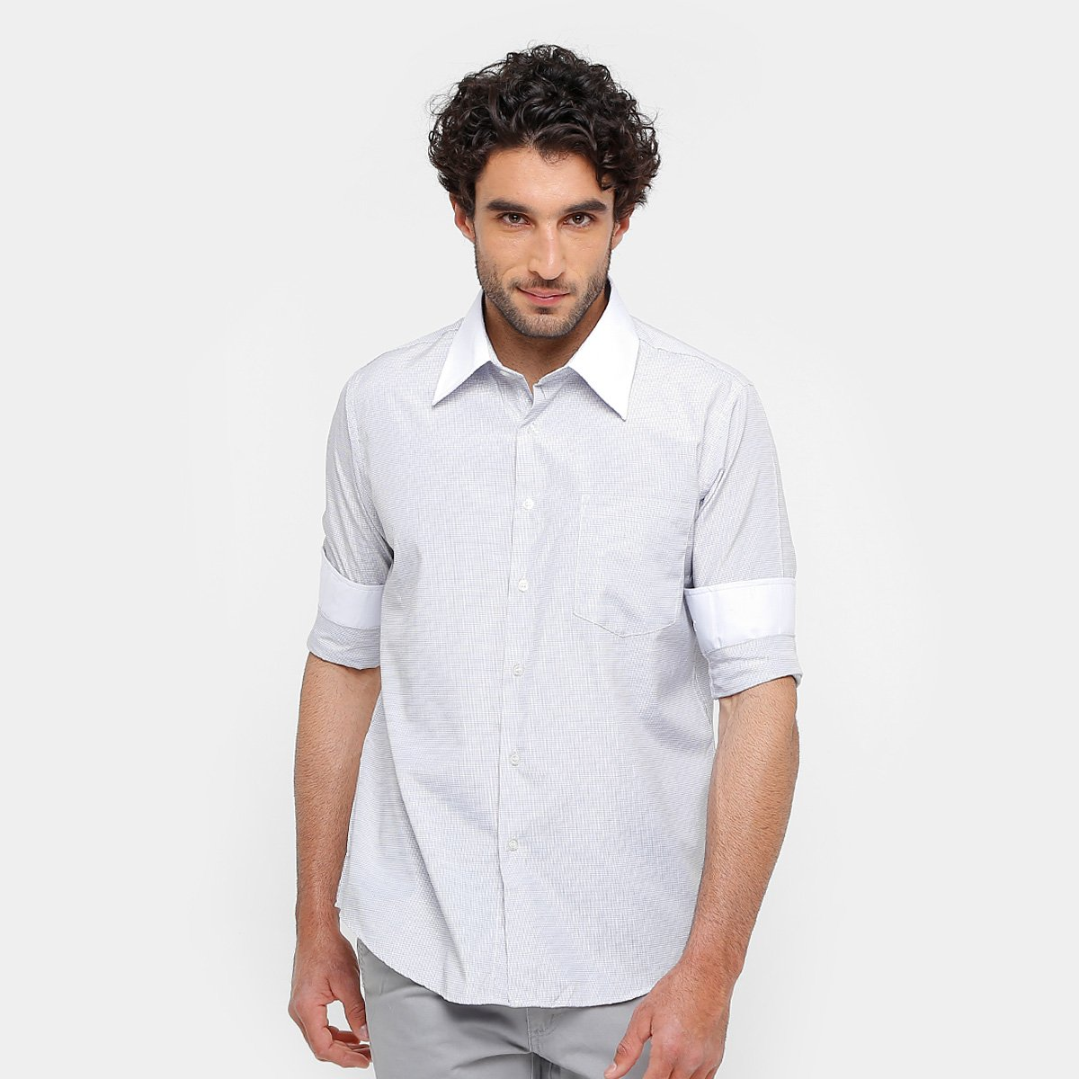 Camisa Blue Bay Regular Fit Gola Contrastante Masculino