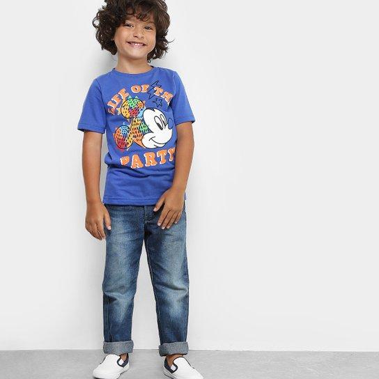 7335a9e47 Camiseta Infantil Disney Mickey Party Masculina - Azul Royal ...