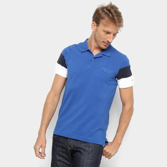 7bd56831a Camisa Polo Tommy Hilfiger CNS Sleeve Colorblock Masculina - Azul Royal