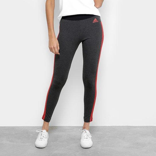 71cdd03fa Calça Legging Adidas Essentials 3S Feminina - Cinza - Compre Agora ...