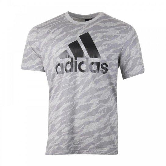 4b3fd50bab Camiseta Adidas Ess Aop Masculina - Cinza - Compre Agora
