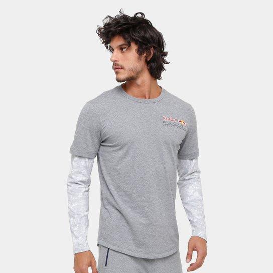 3b4b5fd52f Camiseta Puma Red Bull Racing LS Allover Manga Longa Masculina - Cinza
