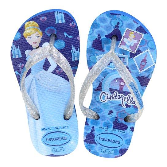 138356c58 Sandália Infantil Havaianas Slim Disney Princesas Feminina - Azul Royal