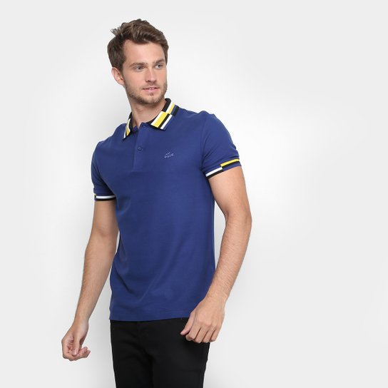 320db5c77b Camisa Polo Lacoste Piquet Fancy Gola Color Geométrica Masculina - Azul  Royal