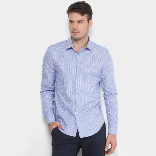 e5a388813 Camisa Calvin Klein Slim Monte Carlo Simples Masculina - Azul+Branco
