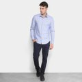 fbe5a816b Camisa Calvin Klein Slim Monte Carlo Simples Masculina - Azul e ...