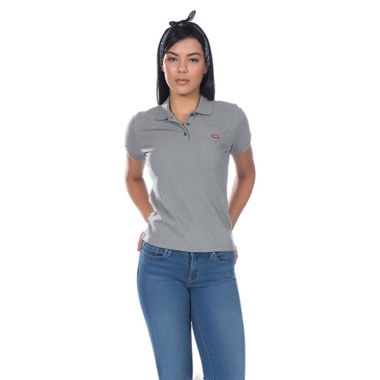 Camisa Polo Levis Classic Batwing - Feminina - Cinza - Compre Agora ... 184258c945f68