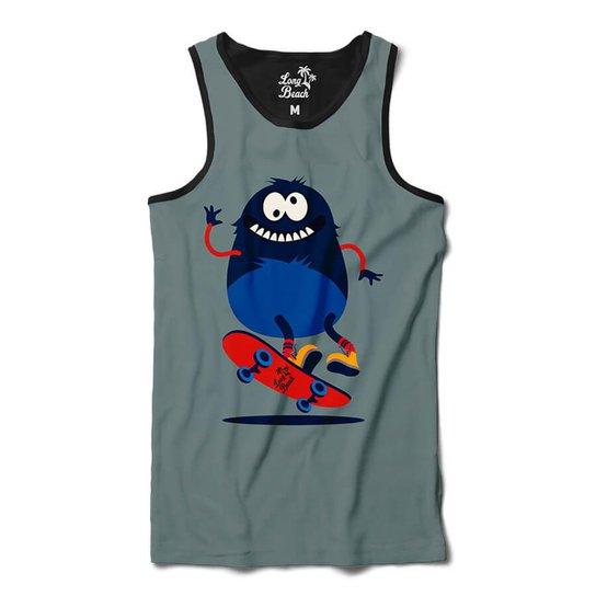 Camiseta Regata Long Beach Pulga Hard Flip Sublimada - Cinza ... a1d8aab214a