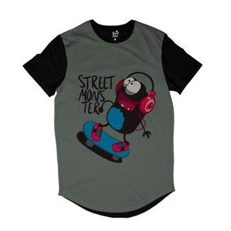 Camiseta Longline Long Beach Monstro Sublimada Masculina d714f4be042