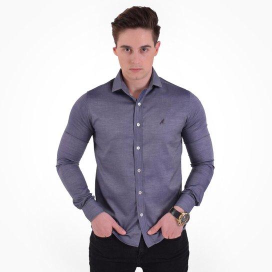 8d51dddd8817e Camisa Social Listrada Masculina - Slim - Cinza - Compre Agora