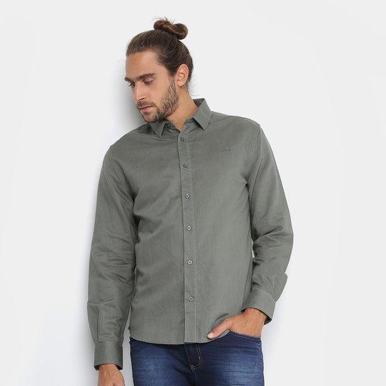 Camisa Colcci Slim Fit Linho Masculina - Verde escuro - Compre Agora ... b098b1f0d6