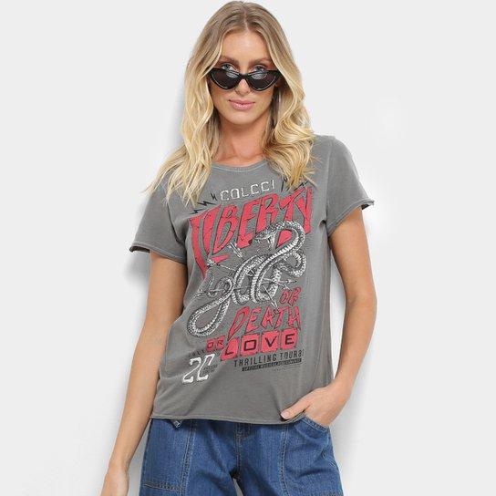 3c7578e69 Camiseta Colcci Snake Liberty Feminina - Cinza | Zattini