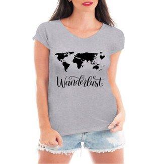 Camiseta Criativa Urbana Wanderlust Viagem Mapa 2c5c5cdef51c1