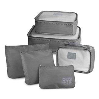 c4b9910437ff2 Kit Organizador Jacki Design de Mala Jacki Designs de 6 Peças de Poliéster