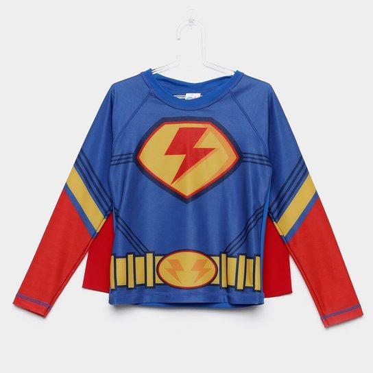 9538a3a2ce Camiseta de Praia Infantil Tip Top Herói com Capa Masculino - Azul Royal