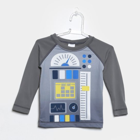 Camiseta Infantil Tip Top Moda Praia Robot Manga Longa Masculina - Cinza 537805aa898