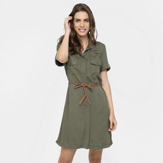 5c2fa281f Vestido Mercatto De Sarja Com Cinto - Verde Militar