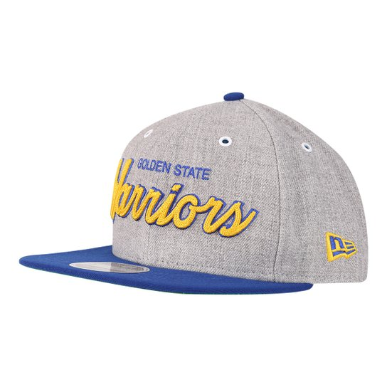 Boné New Era NBA Golden State Warriors Aba Reta 950 OF SN Heather Script -  Cinza 501c3910d5c
