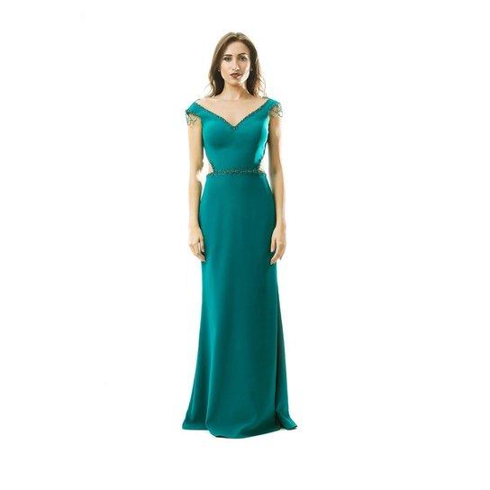 568af4102a Vestido Izad crepe com recorte na cintura bordado em pedrarias - Verde  escuro