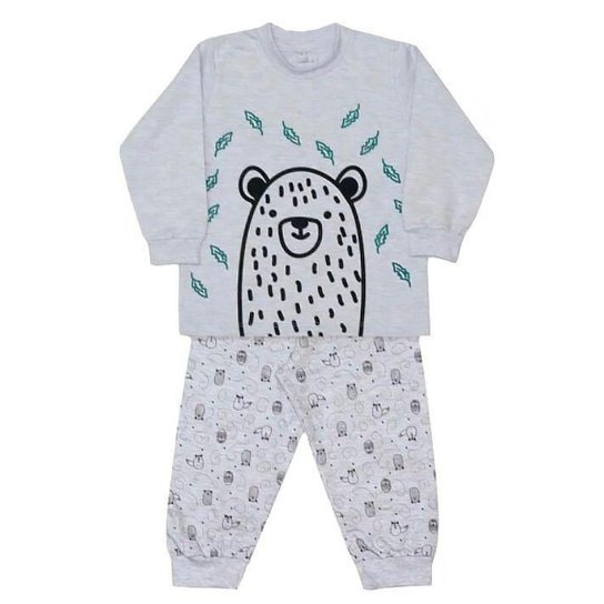 8765194a8ac859 Pijama Infantil Dedeka Moletinho Bichos Do Bosque Masculino - Cinza