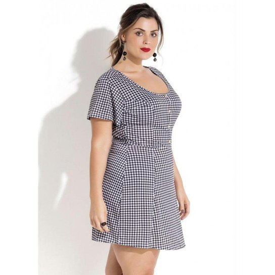 ab8b72db6 Vestido Quintess Evasê Xadrez Vichy Plus Size | Zattini