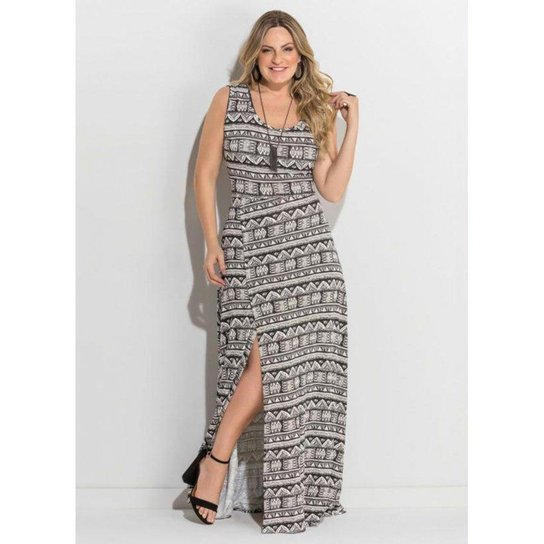 cd0d7e3834 Vestido Plus Size Longo Fenda Étnico Quintess - Cinza