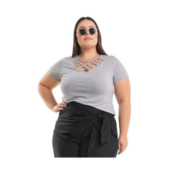 60db97384d Blusa Viscolycra com Transpassado de Tiras Miss Masy Plus Size - Cinza
