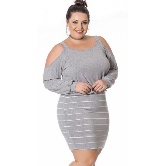 Vestido Beline Plus Size Com Listras E Ombros Vazados Miss Masy Plus - Cinza 0b8e063330e5b