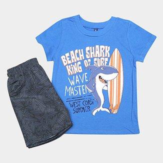 Conjunto Infantil Cativa Estampa Tubarão Masculino 9b9ede2de32e0