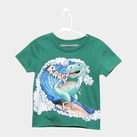 8e78cd9f2b Camiseta Infantil Cativa Surf Dinossauro Masculina - Verde escuro ...