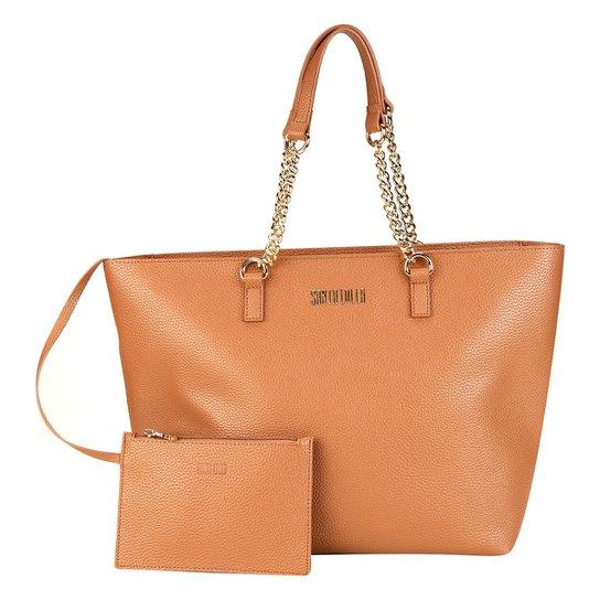 Bolsa Santa Lolla Shopper Alça Corrente Feminina - Marrom Claro ... 395e9693773ac