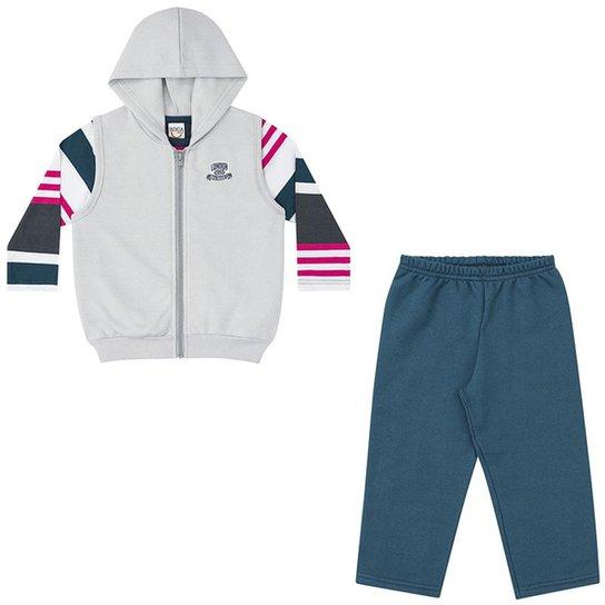 Kit Infantil Boca Grande 3 peças Camiseta Básica listrada + Colete de  Moletom e Calça Masculino e7b30d335ed73