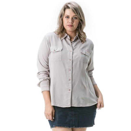 66ec53581 Camisa Confidencial Extra Plus Size Jeans Feminina - Cinza | Zattini