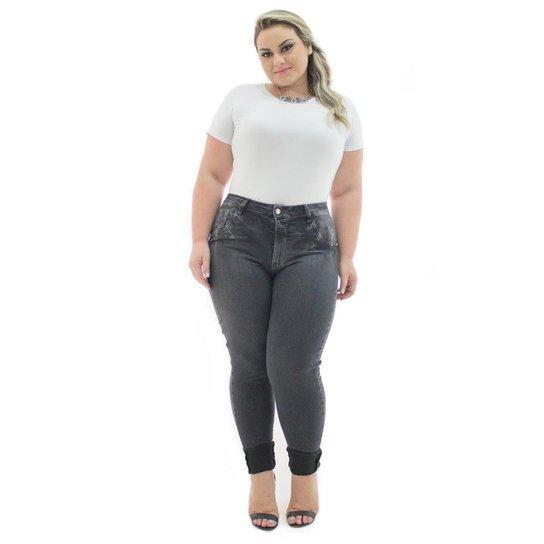 281bb95305057e Calça Jeans Confidencial Extra Plus Size Denin Legging Black Feminina -  Cinza