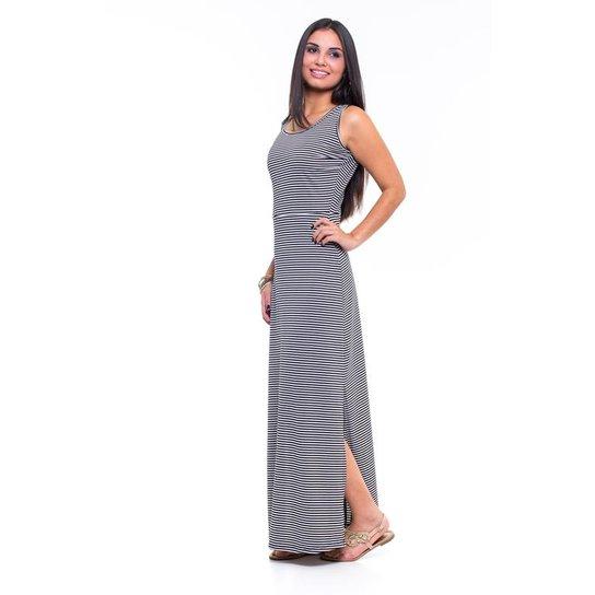 47d1218c49 Vestido Blank Rosê Longo listrado - Cinza