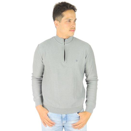 Suéter Masculino Tricô Premium Manhattan Meio Zíper - Cinza - Compre ... aad445df26