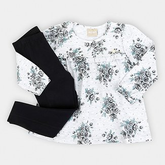 b715db47f3c Conjunto Infantil Milon Longo Cotton Floral Feminino