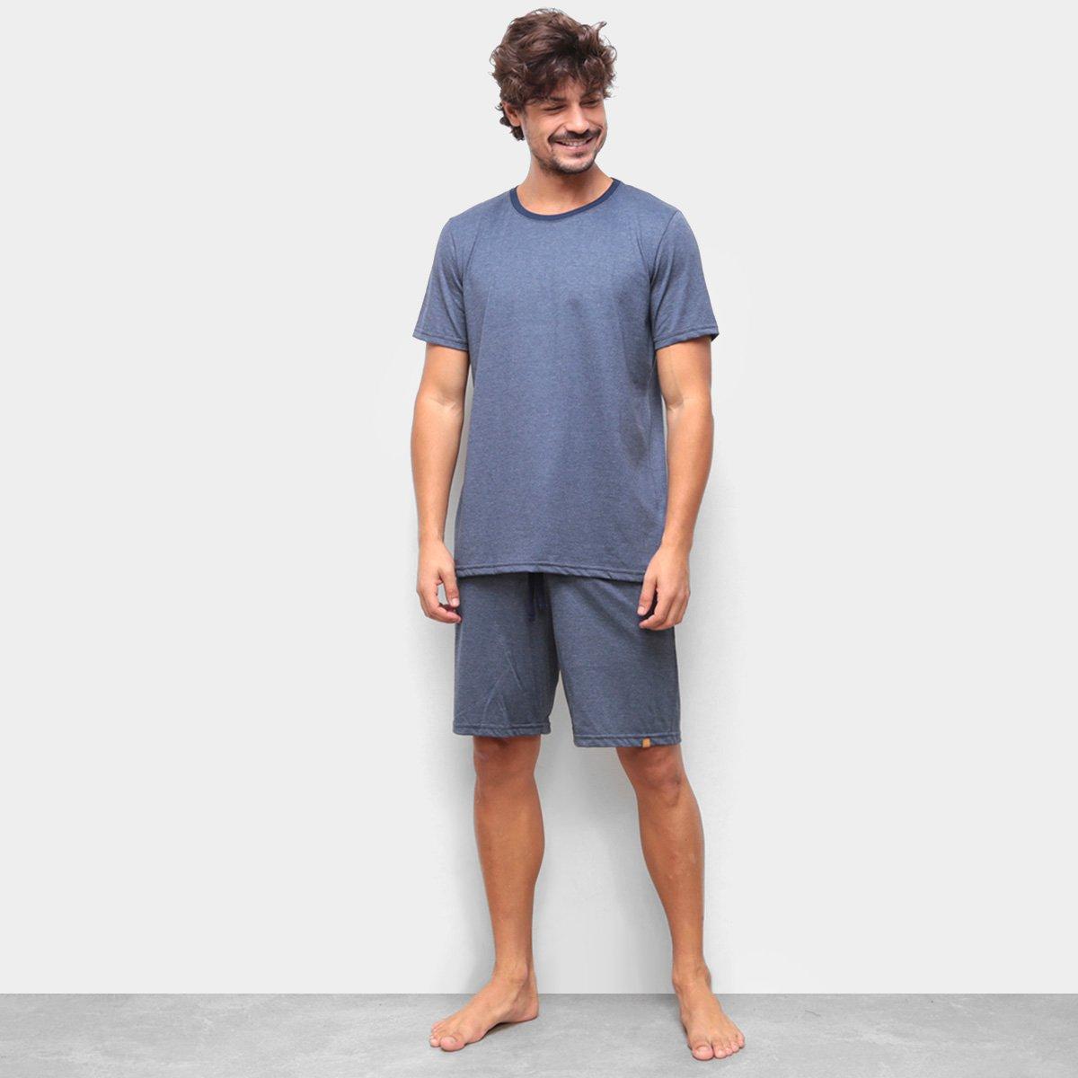 Pijama Curto Cor com Amor Liso Masculino