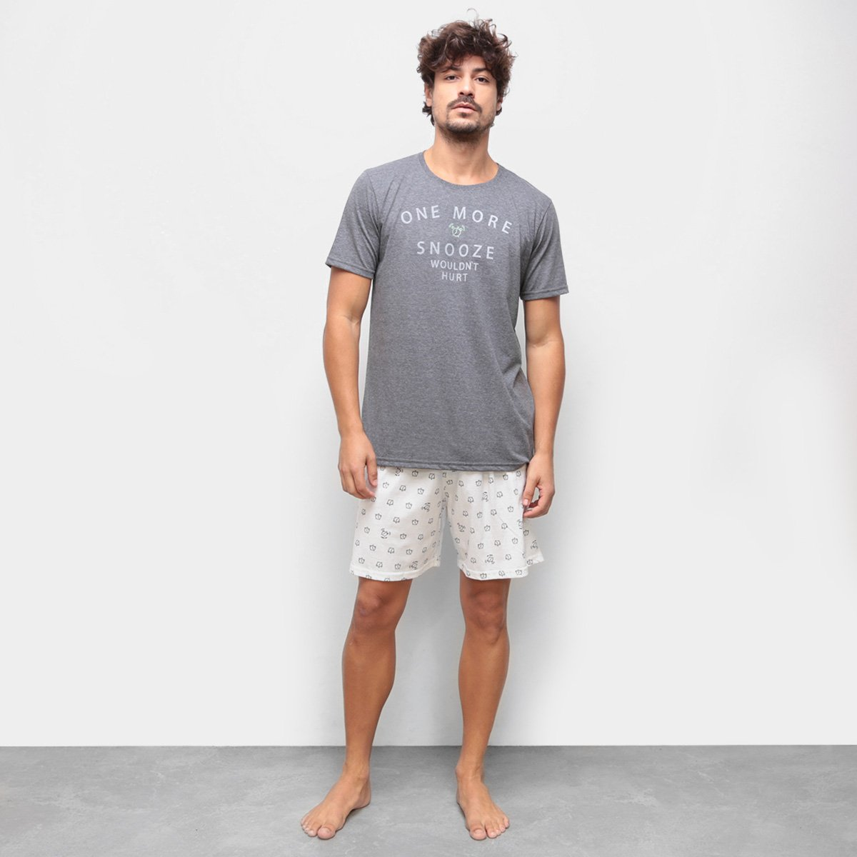 Pijama Curto Cor com Amor Estampado Masculino
